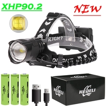 XHP90.2 Upgrade Powerful Led Headlamp 8000LM Head lamp USB Rechargeable Headlight Waterproof Zoom Fishing Light by 18650 Battery
