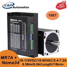 ICAN-Juego de controlador de Motor eléctrico Arduino, Nema34, 85H2P11860A4, 8.5Nm, 6.0A, 118mm, MR7A, 2,4-7.2A, 18-80VAC