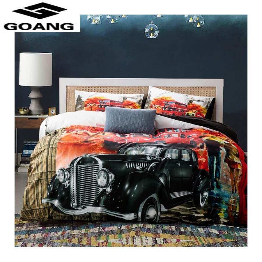 GOANG 3d Bedding Sets Beautiful Autumn Scenery Duvet Cover Bed Sheet Pillowcase 3d Print Luxury Bedding Old American Car
