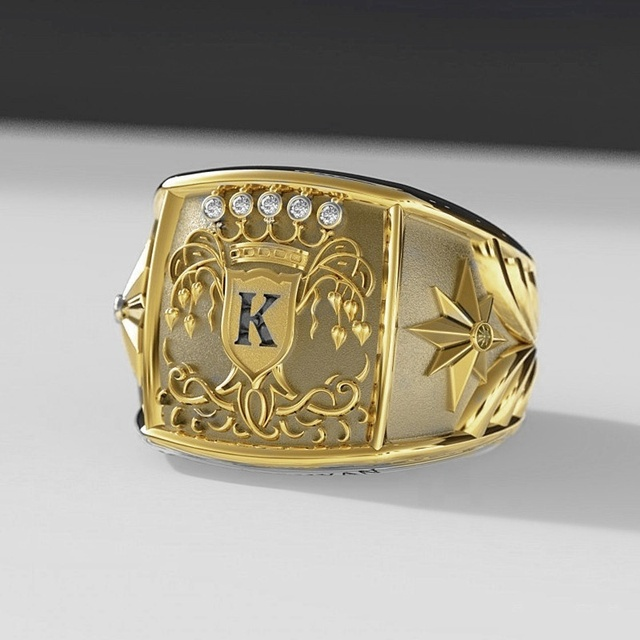European Fashion Mens Gold Rings Warrior Symbol of Bravery for Men King Medal Rings Stainless Steel Fashion Accessories Jewelry