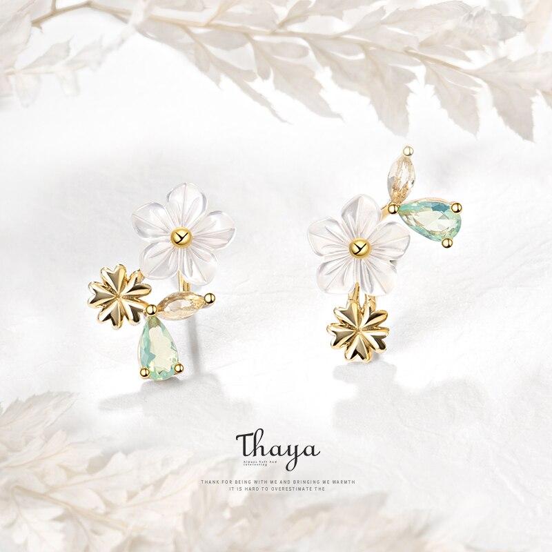 Thaya Original Design Stud Earring 100% 925 Sterling Silver Sun Flower Zircon Earring For Women Sliver Glod Earring Fine Jewelry