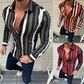 brand new long sleeve men social shirt streetwear casual striped shirts dress mens slim regular fit clothes fashions