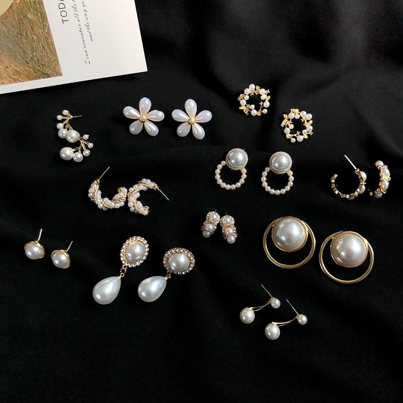 S925 needle Korea Design Stud Earrings Metal Geometric Irregular Circle Teardrop Simulated Pearl Earrings For Women Girl Gift