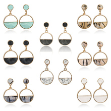 Women Earrings Korean Version Of The Hollow Round Pendant Simple Personality Acrylic Fashion Modern Brinecos