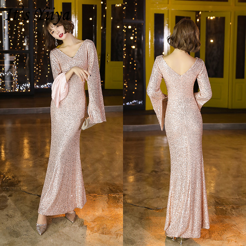 It's YiiYa Formal Dress Long Sleeve V-neck Robe De Soiree K119 Shining Sequins Long Mermaid Evening Dress Plus Size 2020