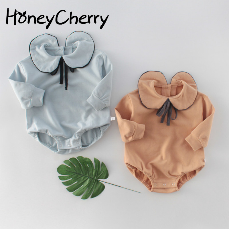 New Spring Baby Girl Bodysuits 2020 Girls' Bow Lapel Wrap Fart Bodysuits Baby Long Sleeve One Piece Creeper