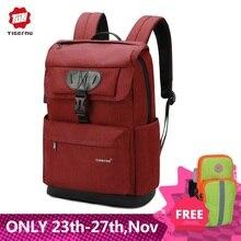 Tigernu moda kobiety czerwony USB ładowania tornister plecak dla nastolatków dziewczyny z zabezpieczeniem przeciw kradzieży kobieta mężczyzna Mochila 15.6 torba na laptopa