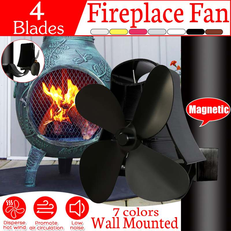 Wall Mounted 4 Blades Heat Powered Stove Fan Log Wood Burner Ecofan Quiet Black Home Fireplace Fan Efficient Heat Distribution