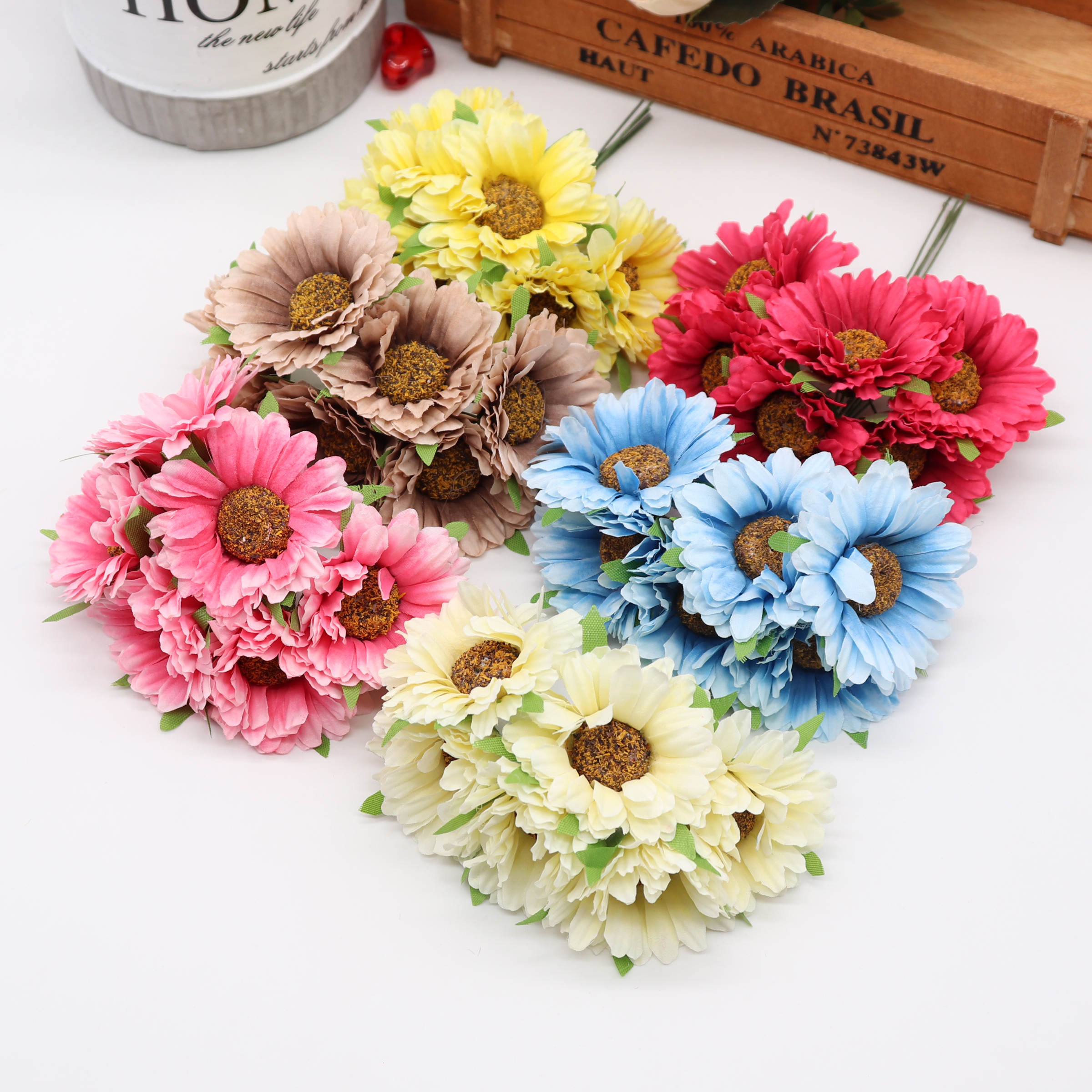Flower-Scissors Wreath-Material Banquet-Decoration Crown Gerbera Bride Handmade Wedding title=
