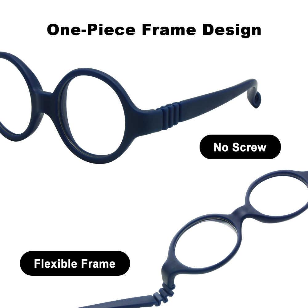 Okulary dla dzieci rozmiar 37mm bez śruby bezpieczne zginane z paskiem, okulary optyczne dla dzieci i soczewki Plano, sznurek do okularów dla dzieci