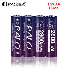 Batteria ricaricabile 2-24pcs 1.5 v AA 2800mwh 1.5 batterie agli ioni di litio agli ioni di litio AA 2A display a LED