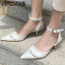 VERCONAS Women Popular Thin Heels High Quality High Heels Sandals Pointed Toe Working Shoes Genuine Leather Summer Shoes Woman cheap Cow Leather Basic Open High (5cm-8cm) 0-3cm Office Career Buckle Strap Fits true to size take your normal size Back Strap