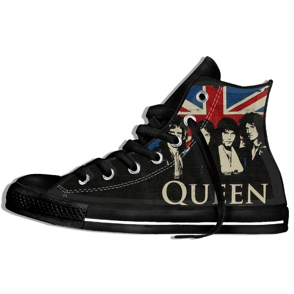 2019 Hot Fashion Printing HIgh Top Sneakers Rock Music Band Queen Unisex Lightweight Casual Shoes