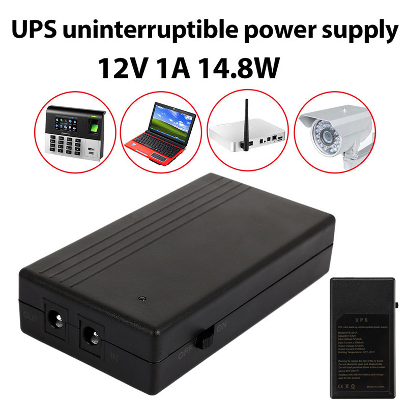 12V 1A 14.8W Multipurpose Mini UPS Battery Backup Security Standby Power Power Supply Uninterruptible Power Supply Smart