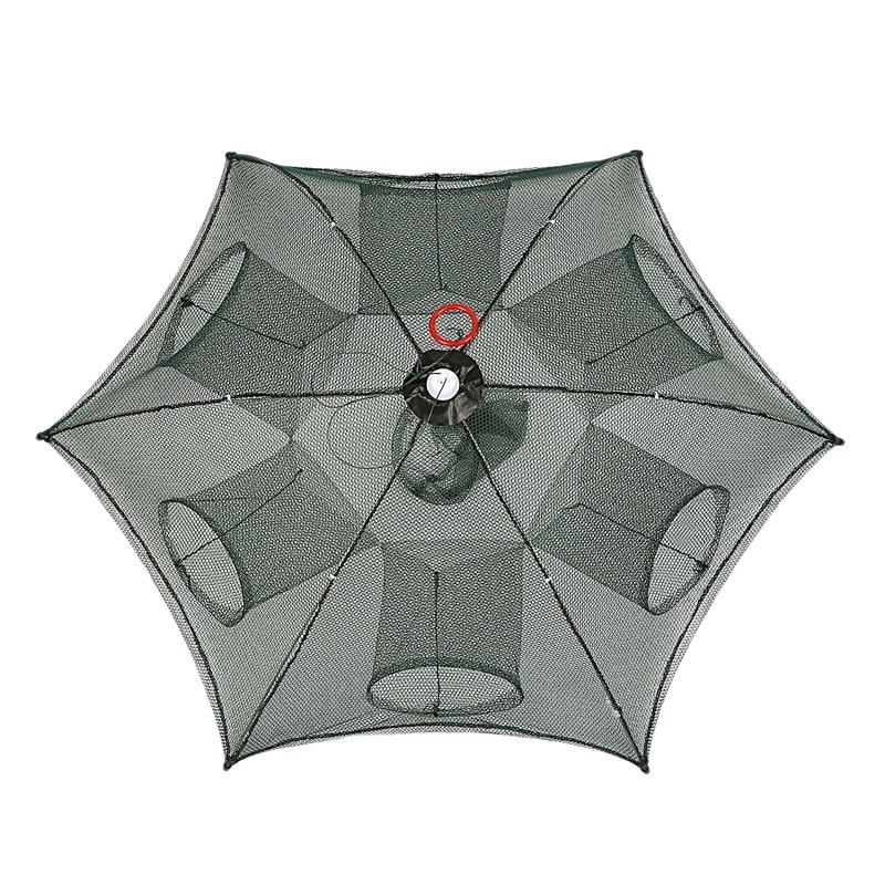 TOP!-Portable Automatic Fishing Net 6 Sides 6 Holes Landing Net Trap Cast Dip Cage Fish Shrimp Trap Fish Net Minnow