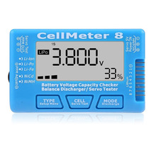 цена на CellMeter 8 LCD Backlight 1-8S Battery Voltage Capacity Checker Balance Discharger Servo Tester for LiPo Life Li-ion NiMH Nicd