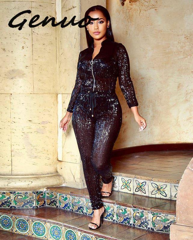 Genuo New Women Front Zipper Sexy Glitter   Jumpsuit   Long Sleeve Drawstring Bodycon Party   Jumpsuit   Elegant Solid Clubwear   Jumpsuit