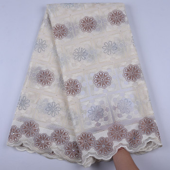High Quality Beige Color African Swiss Voile Lace 2019 African Polish Swiss Cotton Voile Lace Fabric For Women Dress Y1697