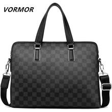 VORMOR 2020 Men Casual Briefcase Bag PU Leather Shoulder Messenger Bags Computer Laptop Handbag Tote Bag Black/Blue