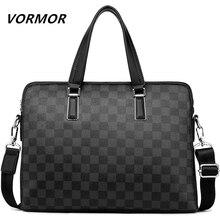 VORMOR 2020 กระเป๋าเอกสารผู้ชายลำลองกระเป๋า PU หนังไหล่ Messenger กระเป๋าคอมพิวเตอร์แล็ปท็อปกระเป๋าถือกระเป๋าถือสีดำ/สีฟ้า
