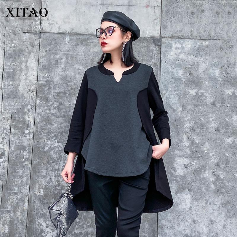 XITAO Fashion Splice Long Sleeve T Shirt Women Irregular Plus Size Wild Tshirt Leisure Women Clothes 2020 Spring Spring DMY3350