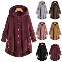 S-5XL, элегантное женское пальто с искусственным мехом, Осень-зима, теплое, мягкое, однотонное, куртка, женская, на пуговицах, длинное, плюшевое пальто, с карманами
