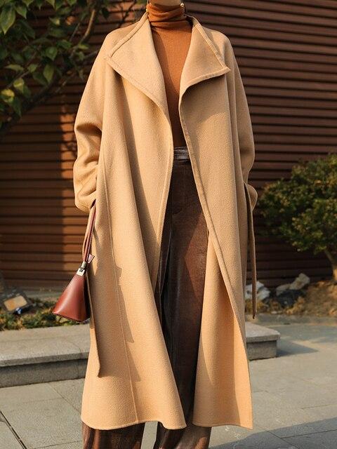 Manteau élégant laine femme automne hiver vêtements 2020 coréen Vintage longue laine veste mode dames mélange manteau Abrigo Mujer 627