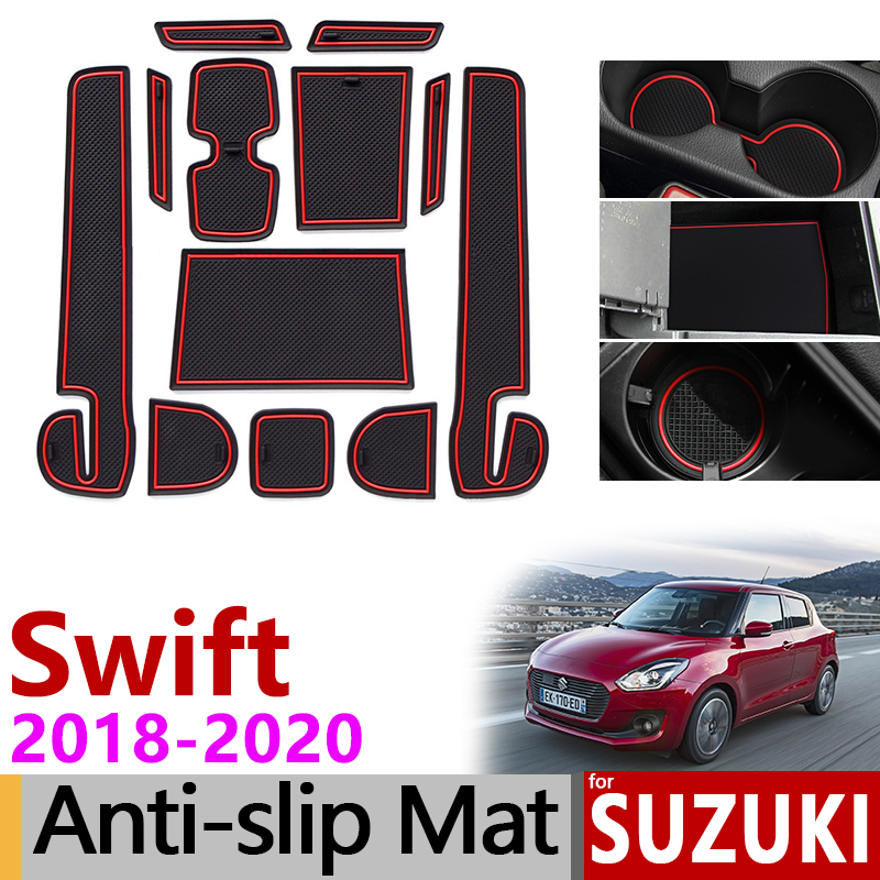 Anti-Slip Mat For Phone Gate Slot Mats Cup Rubber Pads For Suzuki Swift 4 2018 2019 2020 ZC33S Accessories Stickers Sport Dzire