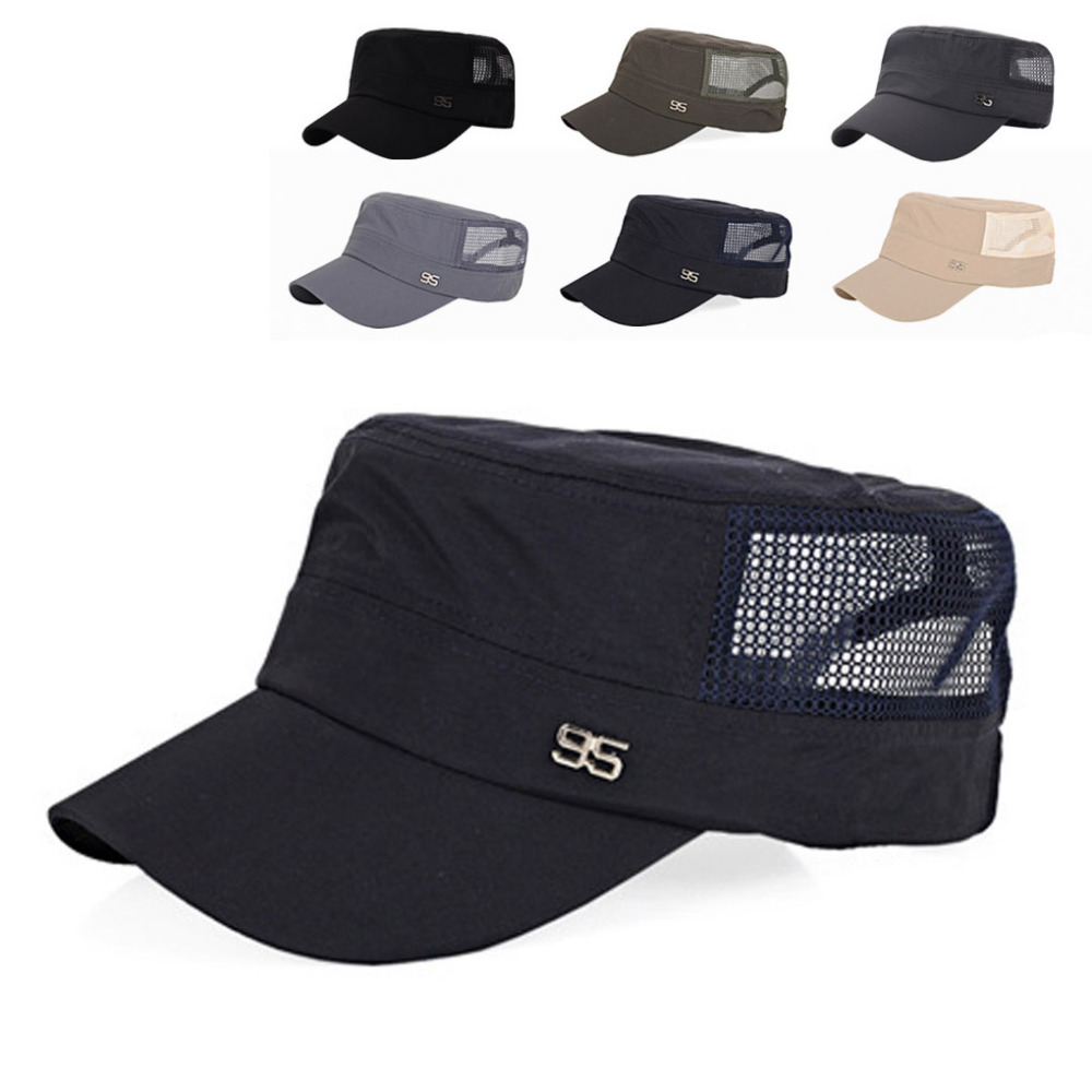 Four Seasons Adjustable Outdoor Sun Hats Baseball Cap Flat Mesh Hat For Men