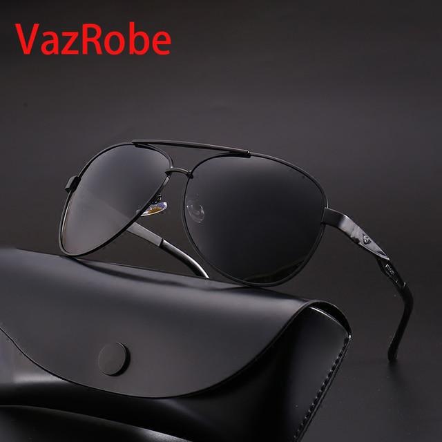 Vazrobe Mens Polarized Sunglasses 160mm 150mm Oversized Sun Glasses for Man Black Anti Reflection Coating Tint Driving Fishing