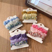 Menina coreana fresco organza grande intestino hairband versátil quebrado flor corda do cabelo acessórios para o cabelo gravata frete grátis