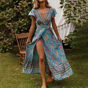 Women's Wear Spring 2019 New Dress Bohemian Grand Pendulum V Collar Beach Vacation Belt Print Skirt