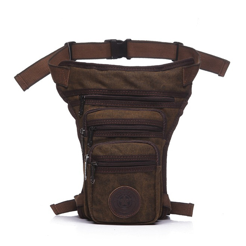 Casual Waterproof Canvas Waist Bags Men Motorcycle Thigh Bag Male Handy Leg Bags Belt Fanny Pack Military Boys Bum Phone Pocket