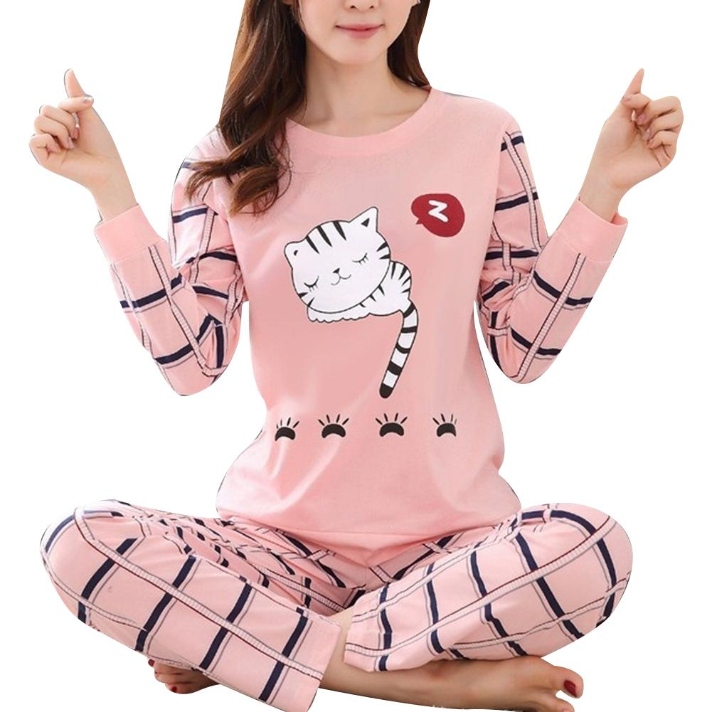 Winter Cute Cartoon Cater Print Pajamas Long Sleeve Two Piece Home Wear Women Casual O-Neck Pyjamas