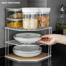 MDZF SWEETHOME 3 Tier Corner Kitchen Dish Rack Metal Drain Rack Plate Pot Storage Shelf Bathroom Storage Accessories