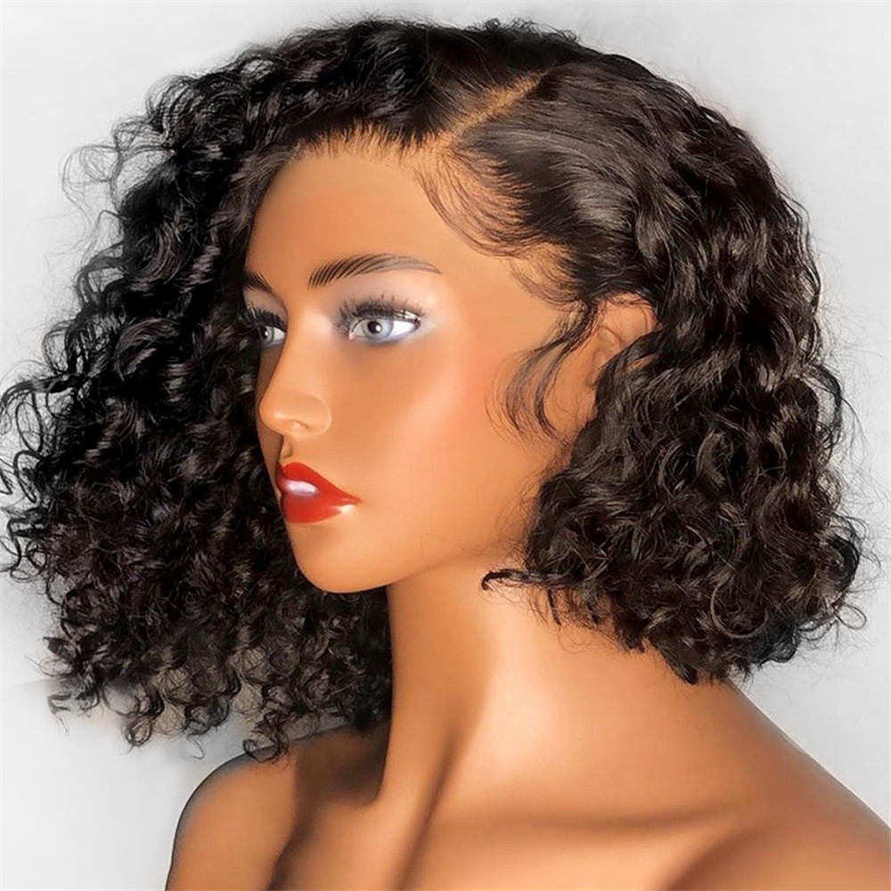 Bob Short Curly 13*4 Lace Front Human Hair Wigs  Brazilian Remy For Women Black Pre Pluck With Bleached Knots