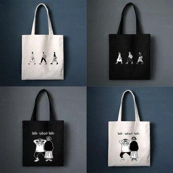 Ladies Handbags Canvas Tote Bag Cotton Cloth Shoulder Shopper Bags for Women 2020 Eco Foldable Reusable Shopping Bags Grocery 2