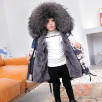 Winter Children Natural Fur Parkas Graffiti Jacket Boys Fur Jackets Girls Warm Clothes Detachable Rabbit Fur Liner