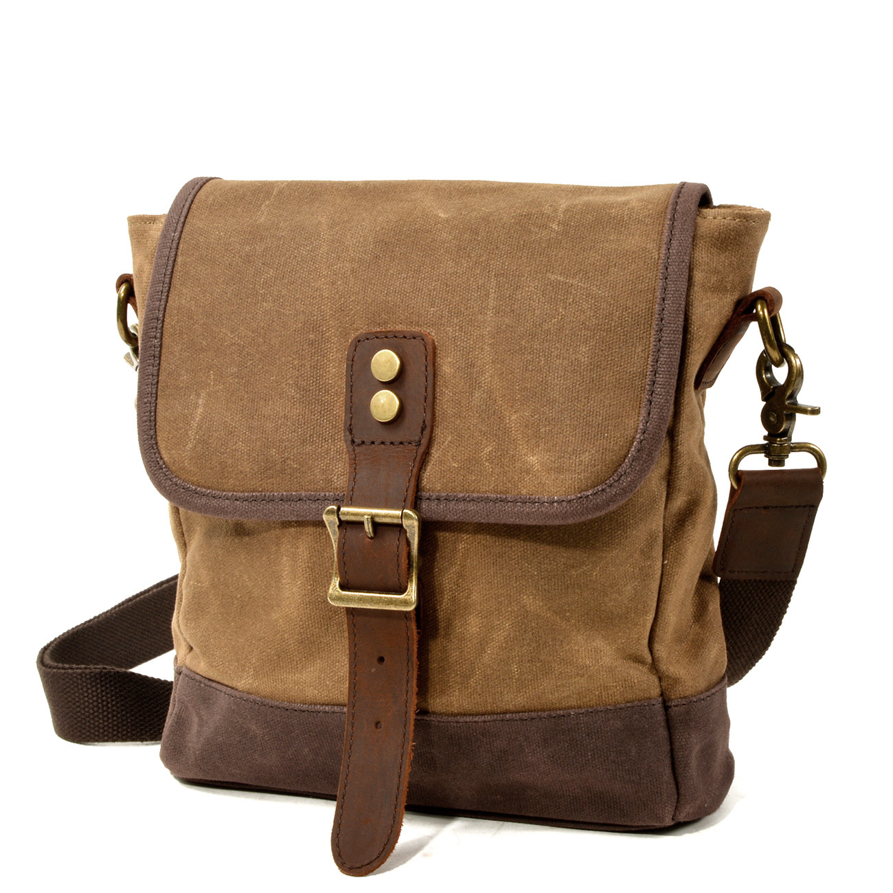 2020 New Retro Oil Wax Canvas with Genuine Leather Messenger Bag Shoulder Bag for Men Crossbody Bags Business Briefcase