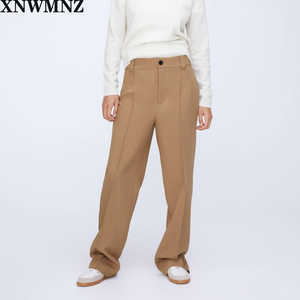 XNWMNZ Za Women Spring Autumn Pants Office Lady Solid Points Loose Female Trousers High Waist Slim Straight Women Suit Pants