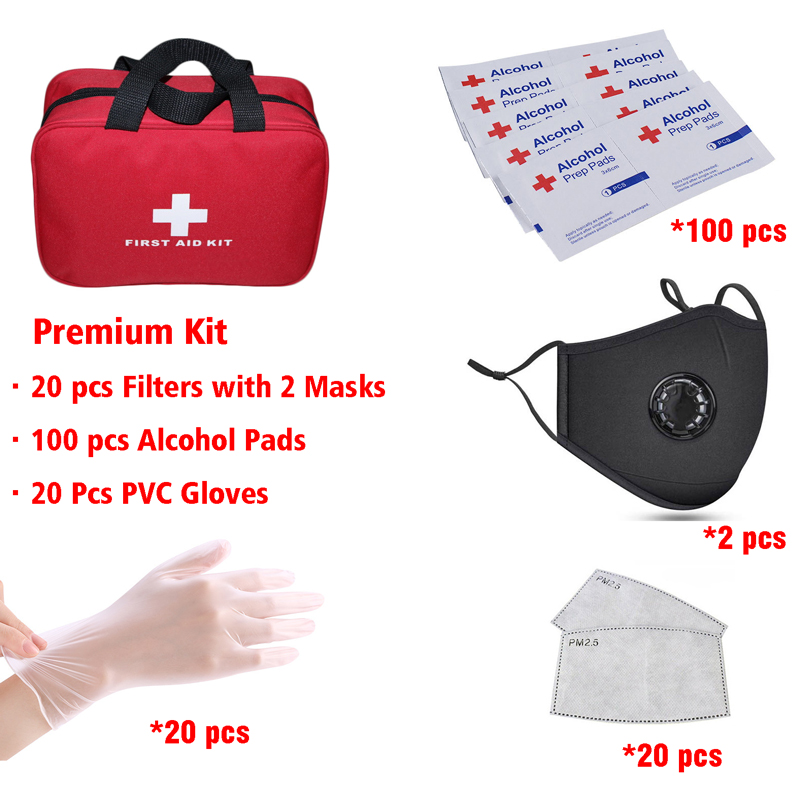 Protect Kit Included 20 PCS Fitlesr Fashion Washable Mask With Valve Disposable PVC Golves Alcohol Disinfection Prep Pads