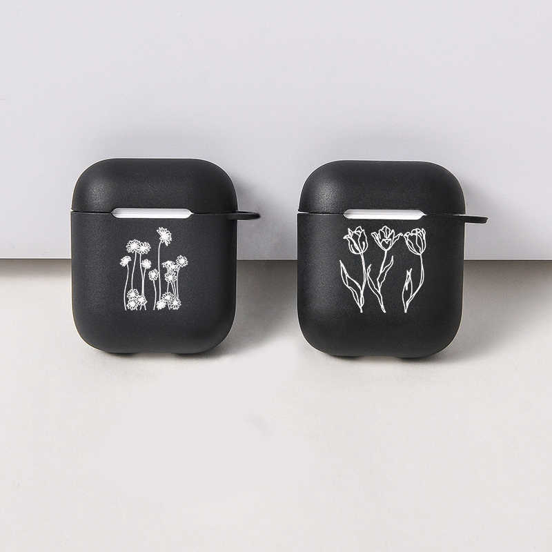 การ์ตูนน่ารักสีดำ Air Pods สำหรับ Apple airpods Case Soft เส้นดอกไม้ Bluetooth หูฟังสำหรับ Airpods หูฟัง