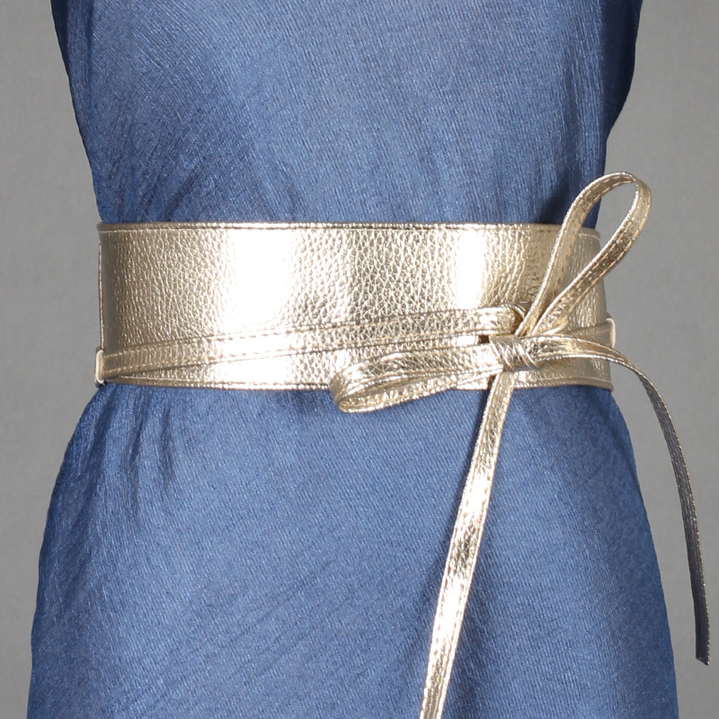 Self Tie Wrap Waist Waist Sealing Dress   Fashion Spring Autumn Women Lady Fashion Metallic Color Soft Faux Leather Wide Belt