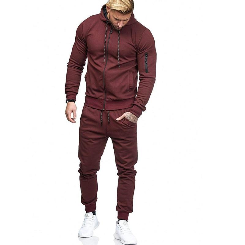 Men's COTTON Arm Zipper Hoodie+pants Sets 2 Pieces Autumn Running Tracksuit Men Sweatshirt Sports Set Gym Clothes Men Hoodie Sui