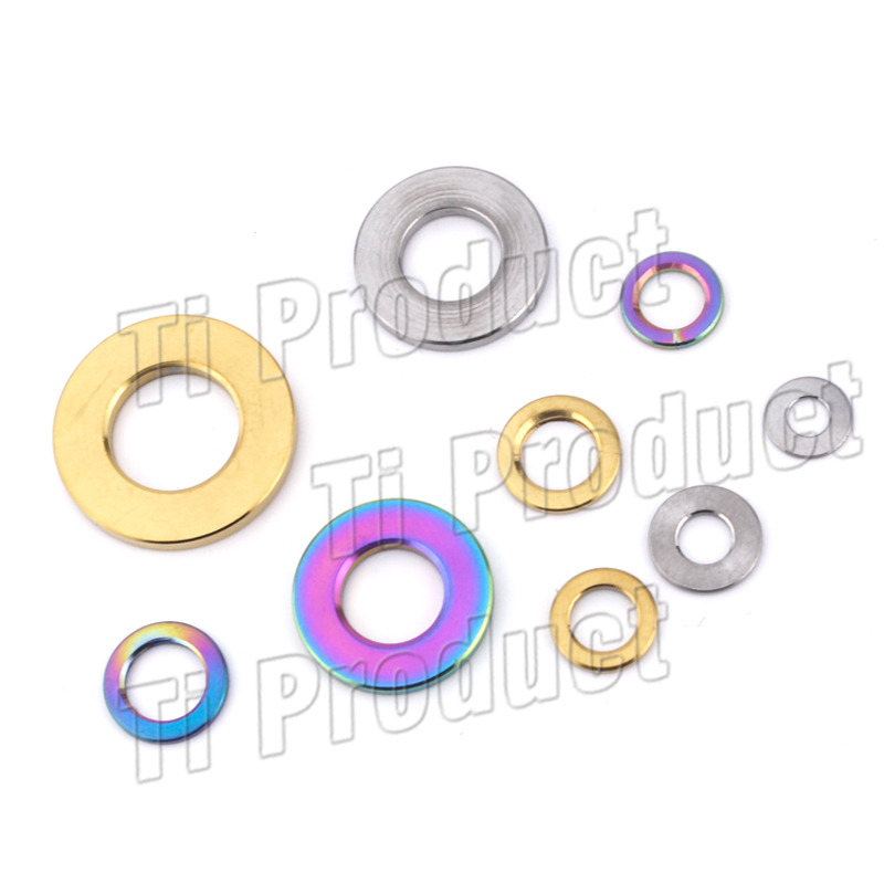 Gr5 Titanium Alloy <font><b>Washers</b></font> M3 M4 M5 M6 <font><b>M8</b></font> M10 Gold Rainbow DIN912 Titanium Flat Spacer for Motorcycle Road Bike Accessories image