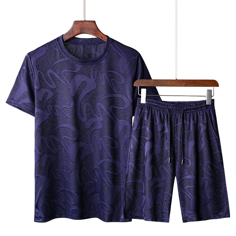 2020 T-shirt Ice Silk Smooth Round Neck Short-sleeved Shorts Sports Suit Sport Clothing Running Set