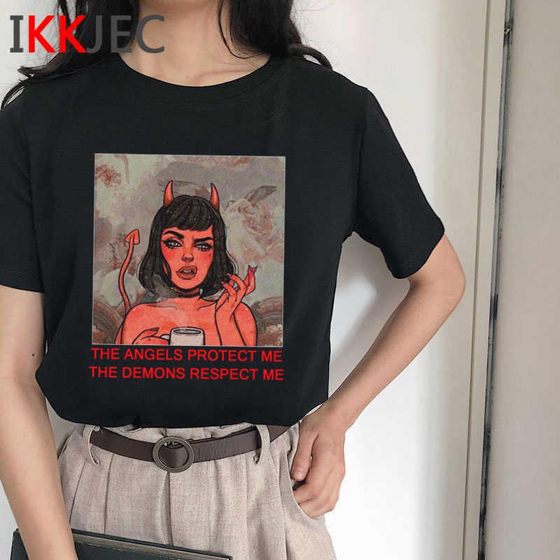 Satana Horror T Delle Donne Della Camicia Demone Morte Spaventoso Male Divertente Alien Grim Reaper T-Shirt Baphomet Satanismo Tshirt Devil Top Magliette femminile