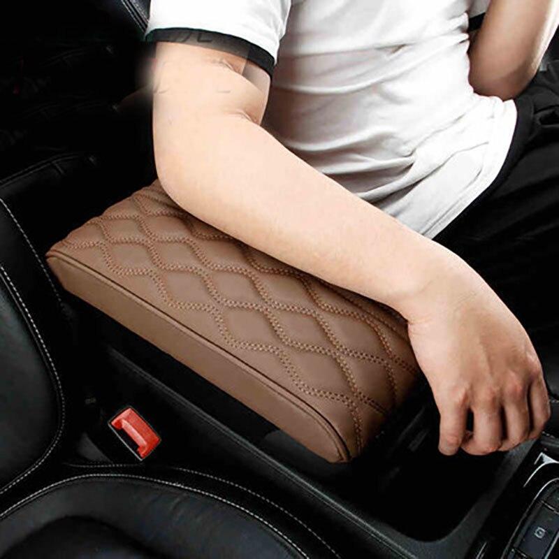Almohadilla de cuero para reposabrazos Central de coche, reposabrazos negro para consola Central de coche, funda de cojín para asiento, estilo protector de vehículo