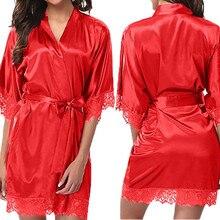 Women Nightdress Lace Lingerie Sleepwear Dress Robe Nightie Gown bathrobe kimono