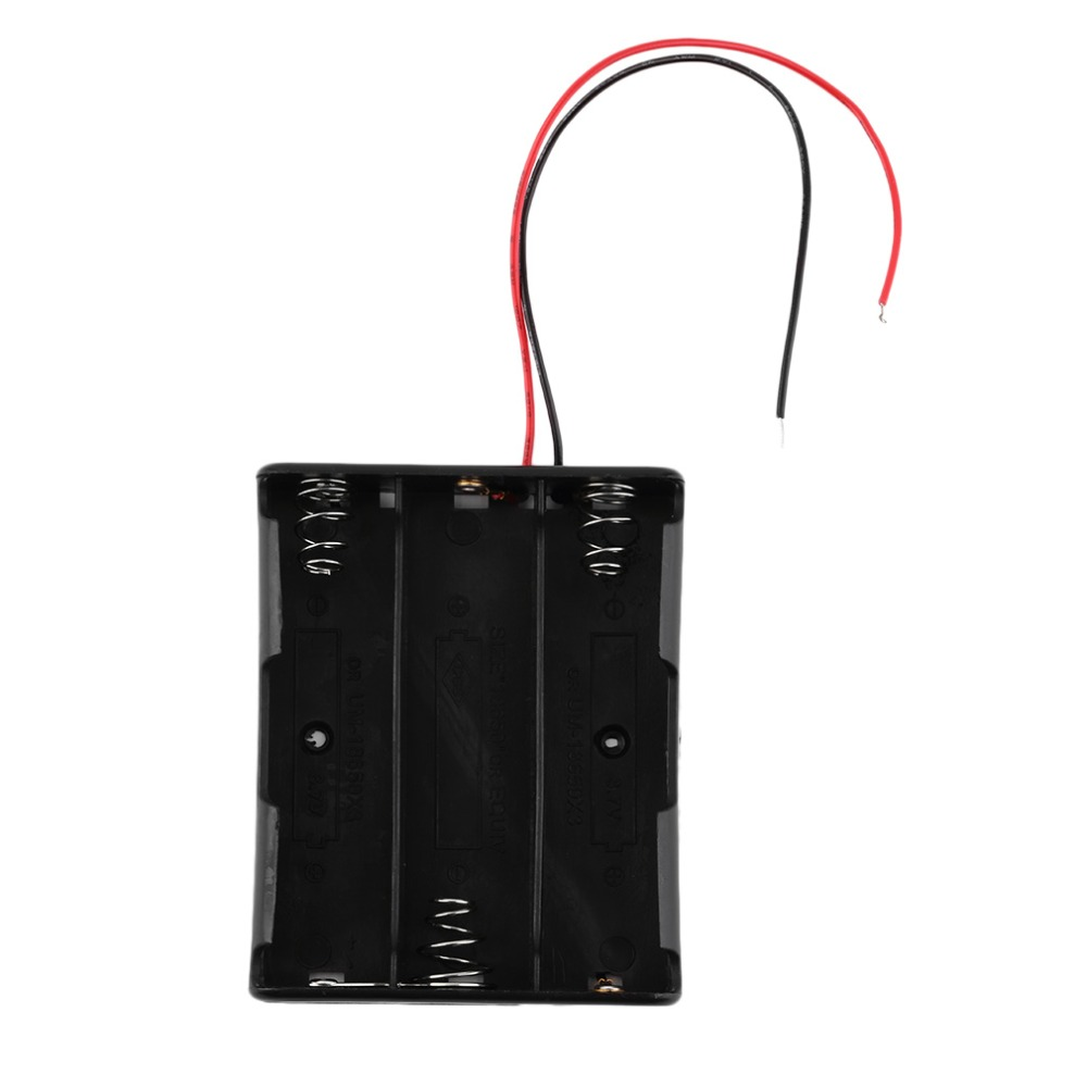 Plastic Battery Black Storage Case Box Holder For <font><b>3x18650</b></font> 3.7V With Wire Leads Keep your Batteries Protected image